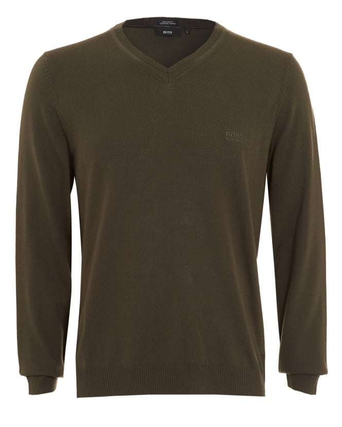 Hugo Boss Black Mens Batisse-B Jumper, Olive Green V-Neck Sweater