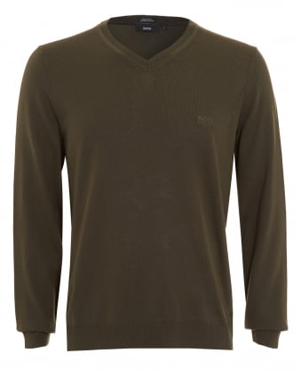 Mens Batisse-B Jumper, Olive Green V-Neck Sweater