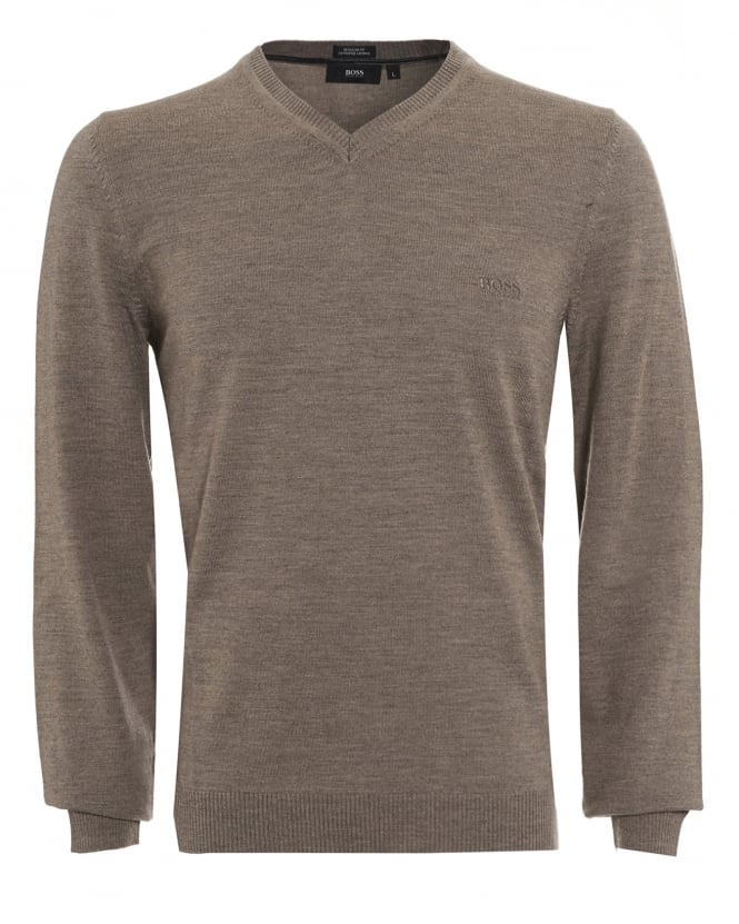 Hugo Boss Black Mens Batisse-B Jumper, Taupe V-Neck Sweater