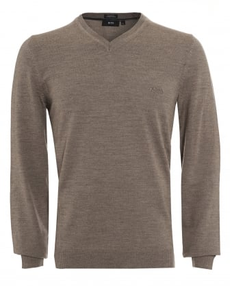 Mens Batisse-B Jumper, Taupe V-Neck Sweater