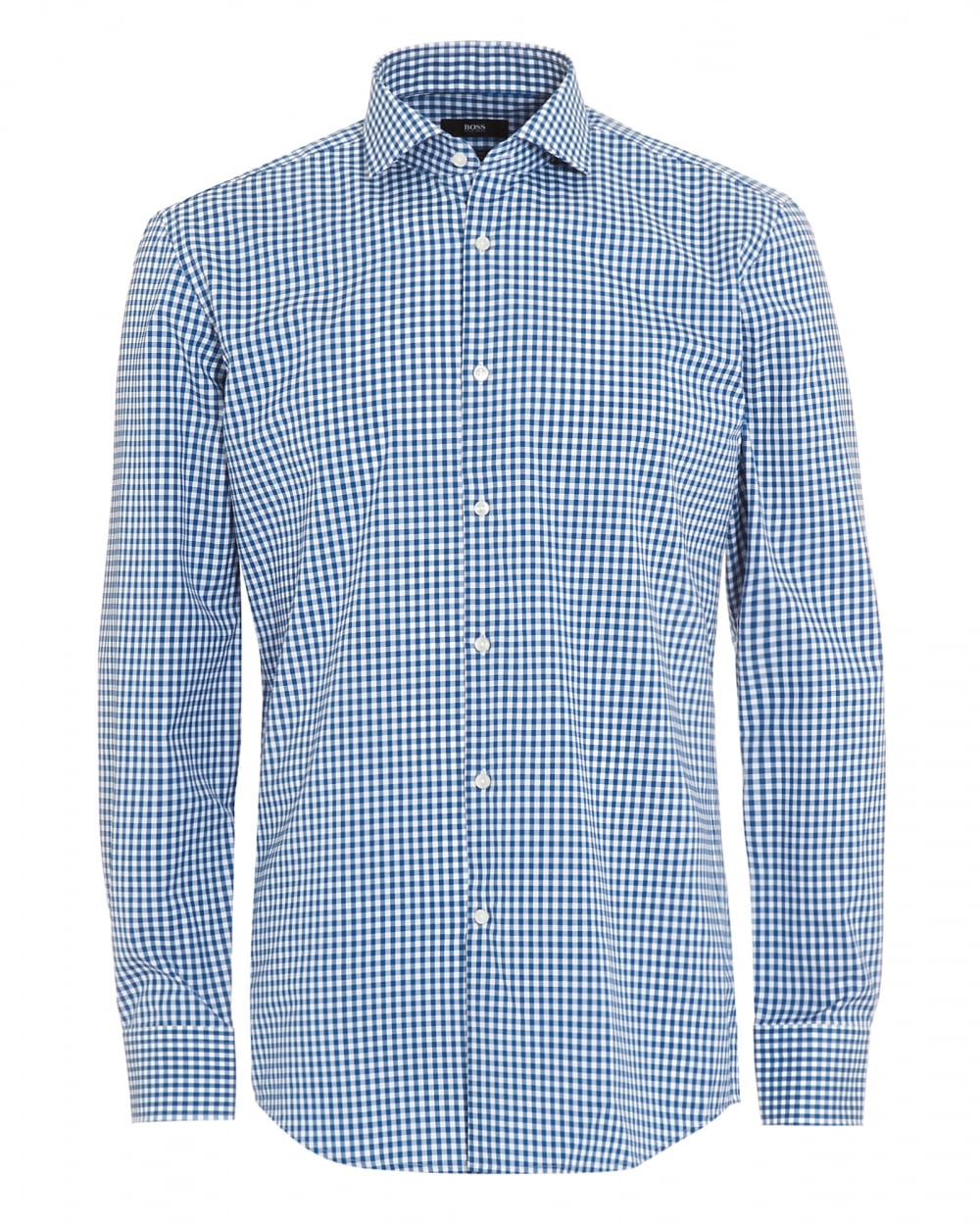 Hugo boss classic mens blue white gingham check jason shirt for Mens blue gingham shirt