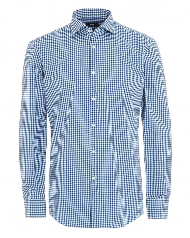 Hugo boss classic mens blue white gingham check jason shirt for Hugo boss jason shirt