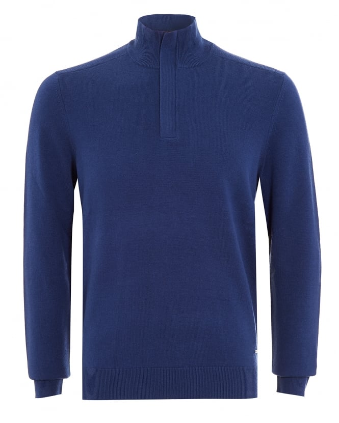 Hugo Boss Black Mens Bonny Sweatshirt, Blue Half Zip Jumper