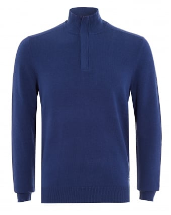 Mens Bonny Sweatshirt, Blue Half Zip Jumper