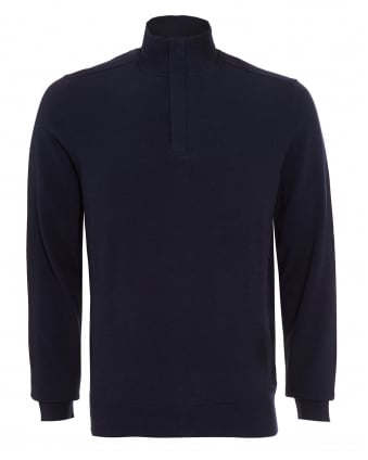 Mens Bonny Sweatshirt, Dark Navy Blue Half Zip Jumper