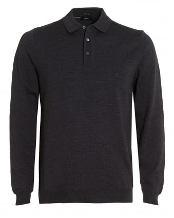 Mens Bono-L Polo, Regular Fit Grey Fine Merino Logo Polo Shirt
