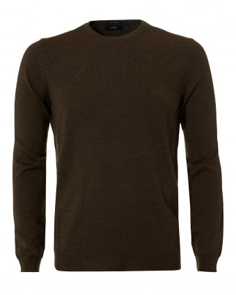 Mens Botto-L Jumper, Merino Wool Dark Olive Sweater