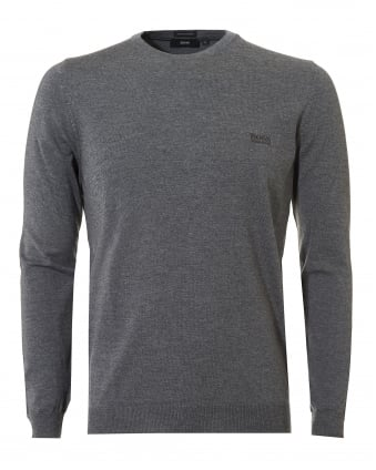 Mens Botto-L Jumper, Merino Wool Grey Melange Sweater