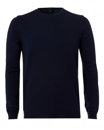 Mens Botto-L Jumper, Merino Wool Navy Blue Sweater