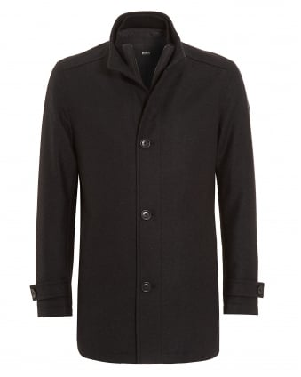 Mens Camlow Coat, Charcoal Grey Wool Jacket