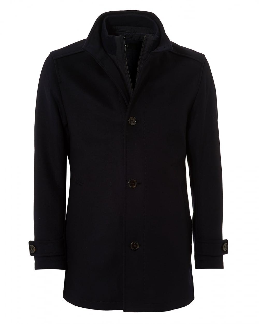 Mens Camlow Coat, Navy Blue Wool Blend Carcoat Jacket