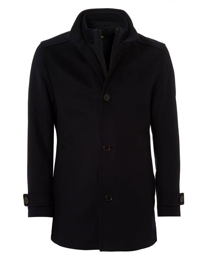 Hugo Boss Black Mens Camlow Coat, Navy Blue Wool Blend Carcoat Jacket