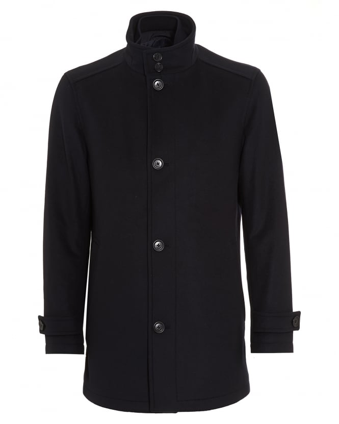 Hugo Boss Black Mens Camlow Wool Blend Navy Car Coat
