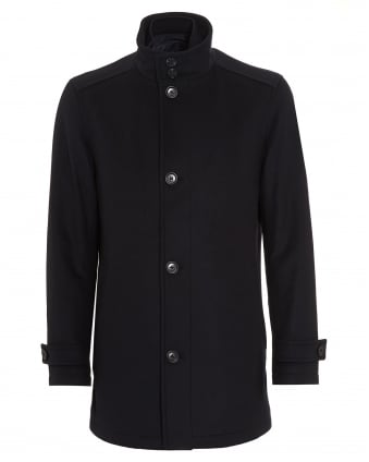 Mens Camlow Wool Blend Navy Car Coat