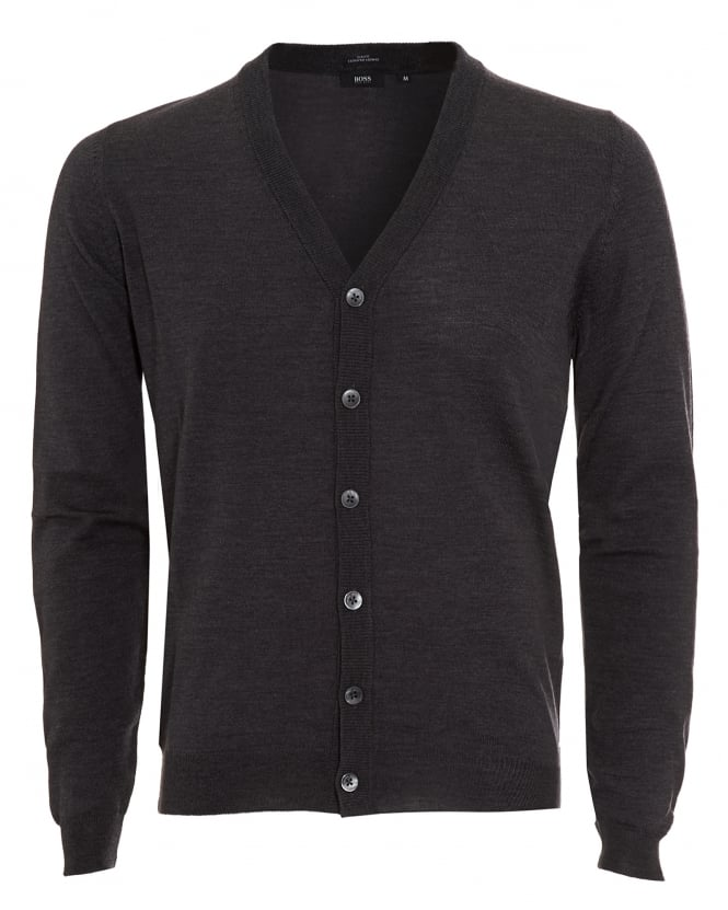 Hugo Boss Black Mens Cardigan, Mardon-B Slim Fit Charcoal Grey Jumper