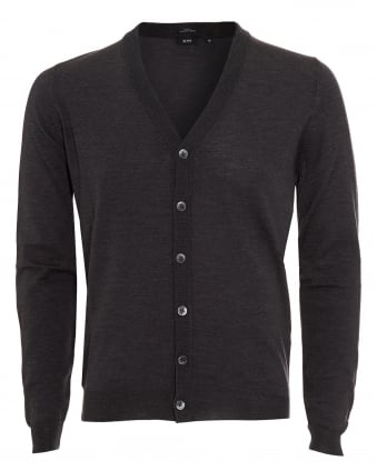 Mens Cardigan, Mardon-B Slim Fit Charcoal Grey Jumper