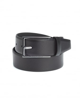 Mens Carmello-S Black Textured Grain Leather Belt