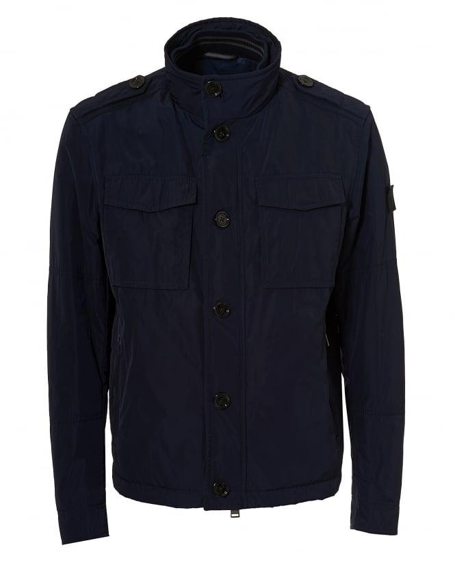 Hugo Boss Black Mens Cid Jacket, Navy Blue Nylon Coat