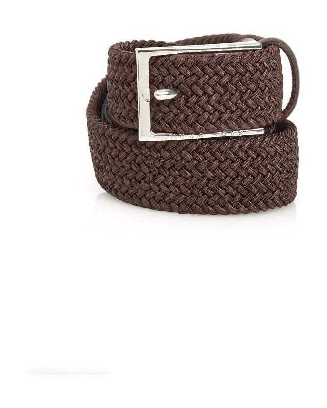 Hugo Boss Black Mens Clori Belt Woven Leather Brown Belt