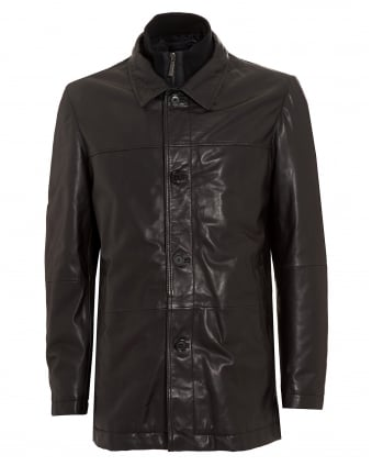 Mens Coat, Arimo Regular Fit Black Leather Jacket