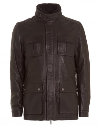 Mens Coat, Gembu Lambskin Collar Brown Leather Jacket
