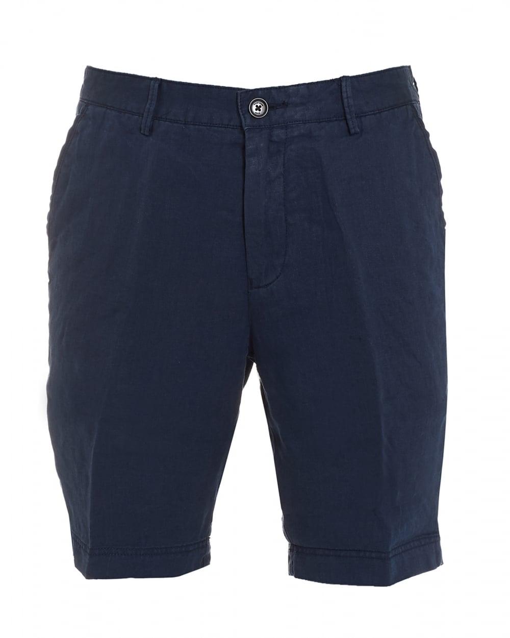 Mens Crigan-Short, Navy Blue Regular Fit Linen Shorts