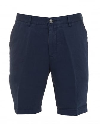 Mens Crigan-Short, Navy Blue Regular Fit Linen Shorts