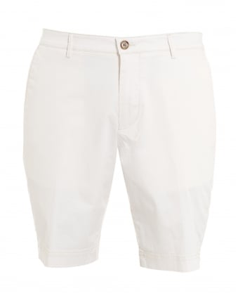 Mens Crigan-Short-W, White Regular Fit Cotton Shorts