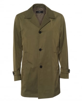Mens Dais Jacket, Semi-Lined Water Repellent Olive Green Raincoat