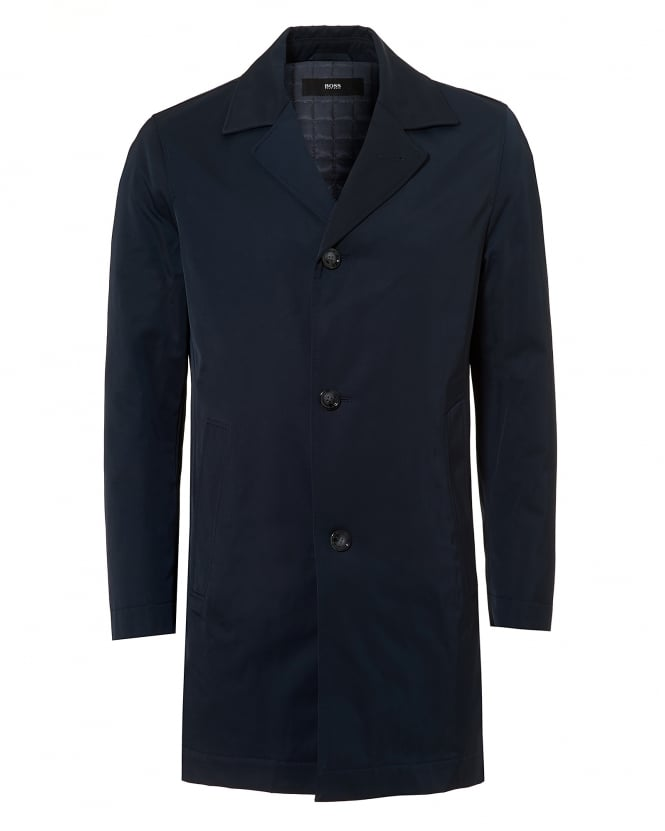 Hugo Boss Black Mens Dais Water Repellent Navy Blue Rain Coat