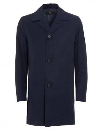 Mens Dais9 Cotton Blend Water Repellent Navy Blue Coat