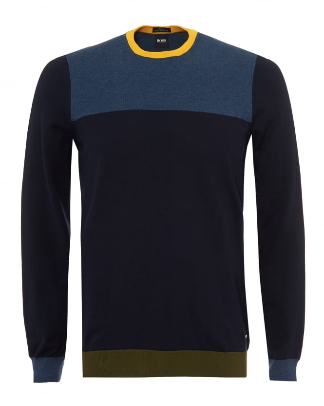Hugo Boss Black Mens Decio Knit, Multi Paneled Navy Blue Yellow Jumper