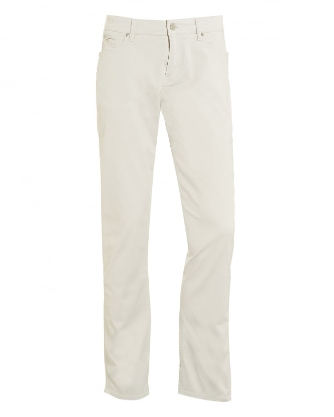 BOSS Business Mens Delaware3 Jeans, Slim Fit Off White Denim
