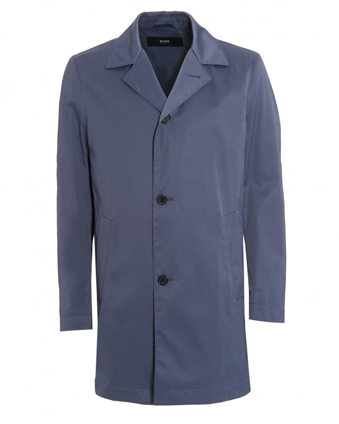 Hugo Boss Black Mens Dias 12 Raincoat, Blue Steel Waterproof Jacket