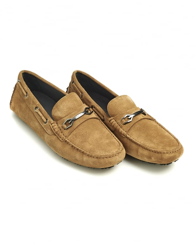 Hugo Boss Black Mens Dripin Shoes, Beige Suede Leather Moccasins