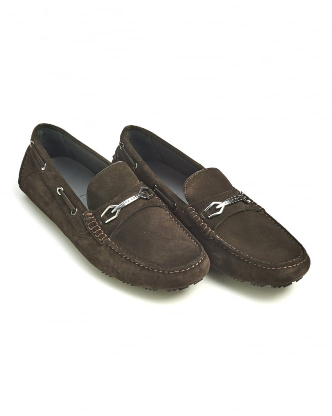 Hugo Boss Black Mens Dripin Shoes, Chocolate Brown Suede Leather Moccasins