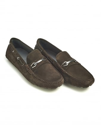 Mens Dripin Shoes, Chocolate Brown Suede Leather Moccasins