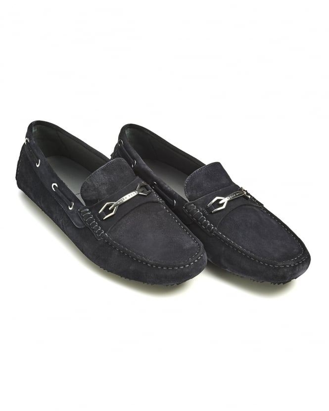 Hugo Boss Black Mens Dripin Shoes, Navy Blue Suede Leather Moccasins