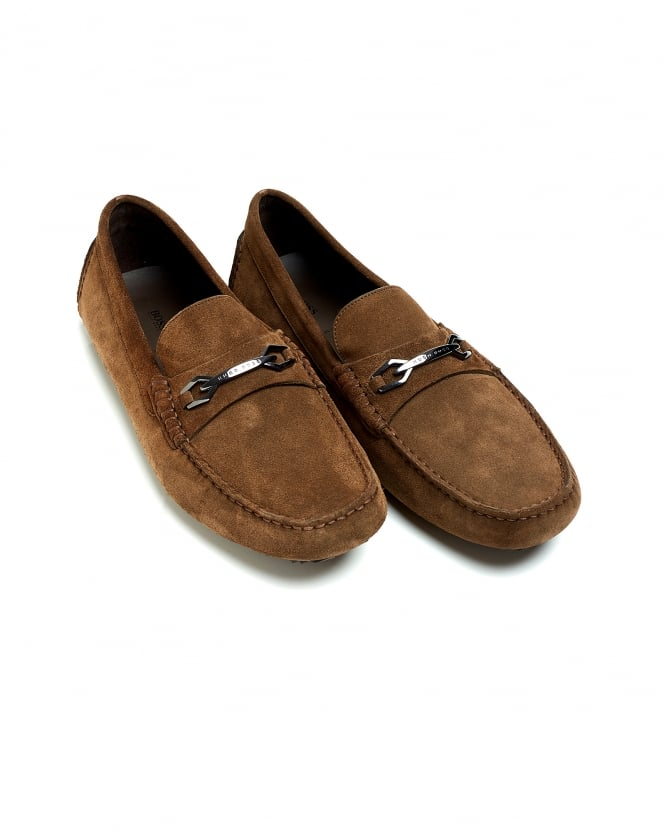 BOSS Business Mens Driver_Mocc_sdhw Chestnut Moccasin Suede Driver Shoe