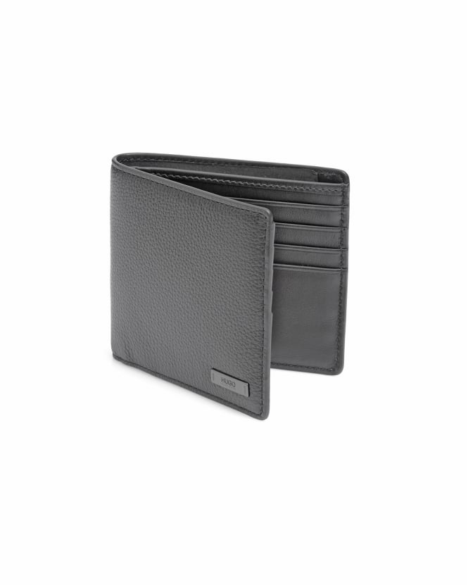 BOSS Business Mens Element_6 cc Tumbled Leather Bi-Fold Black Wallet