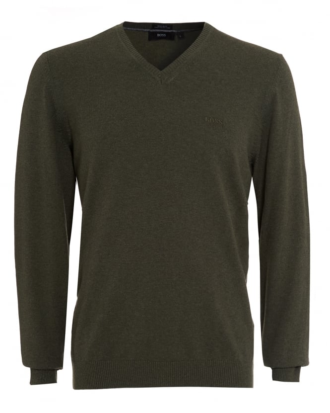 Hugo Boss Black Mens Fillpp-O Jumper, Khaki Green Sweater