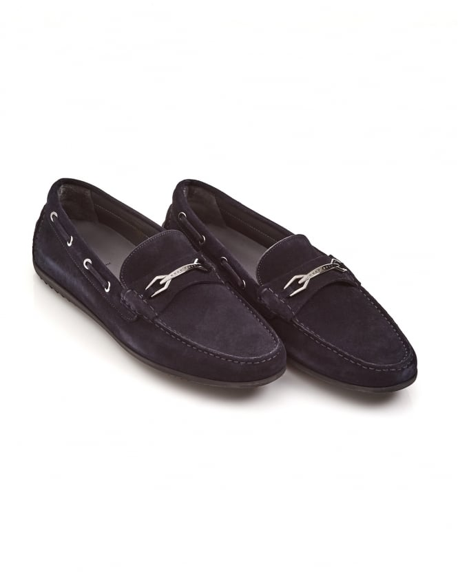Hugo Boss Black Mens Flairone_Mocc Metal Appliqué Navy Blue Suede Moccasins
