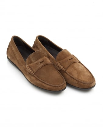 Mens Flairone_Mocc_sd Penny Loafer, Dark Brown Suede Shoes