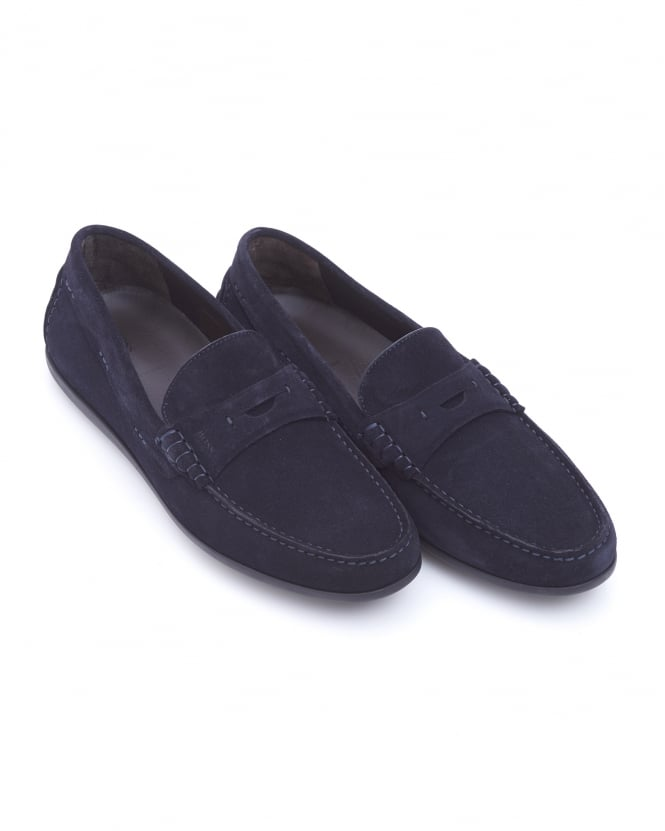 BOSS Business Mens Flairone_Mocc_sd Penny Loafer, Navy Blue Suede Shoes