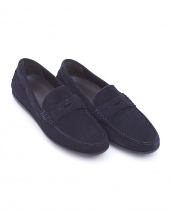 Mens Flairone_Mocc_sd Penny Loafer, Navy Blue Suede Shoes