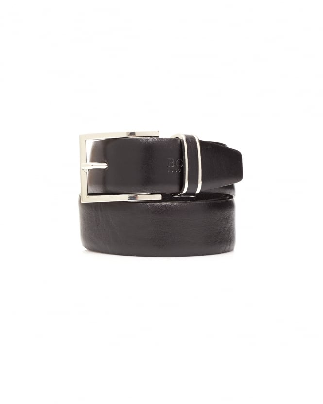 Hugo Boss Black Mens Froppin Black Smooth Leather Belt