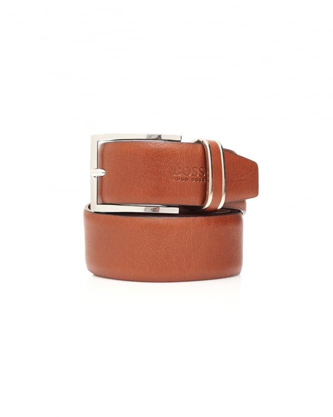 Hugo Boss Black Mens Froppin Tan Smooth Leather Belt