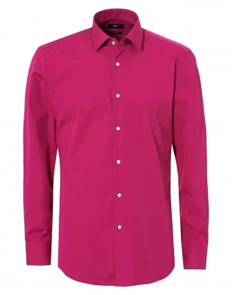 Mens Fuchsia Pink Jerris Slim Fit Inner Trim Shirt