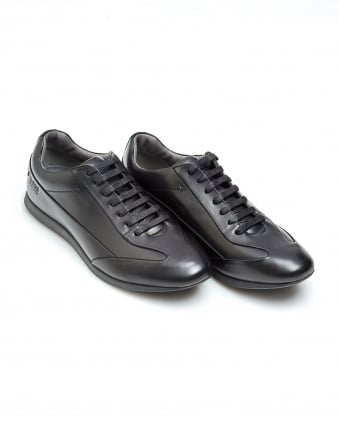 Mens Fult Trainers, Smooth Leather Black Sneakers
