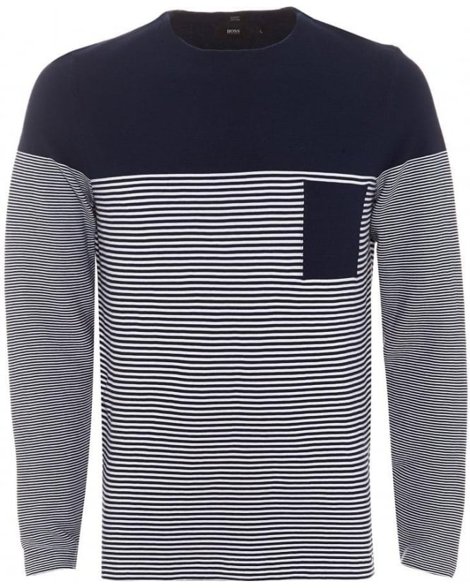 BOSS Business Mens Garwood Jumper, Navy White Striped Slim Fit Sweater